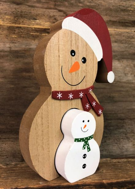 Cute Wooden Jigsaw Christmas Mantel Ornament - Snowman